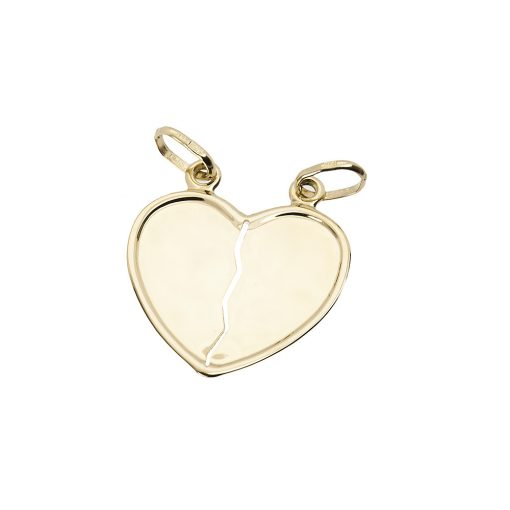 Törhető szív páros medál szerelmeseknek - 14K arany (Au553016)