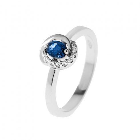 18K Arany Gyűrű BRILLEL és ZAFÍRRAL (Au58687) Méret: 51