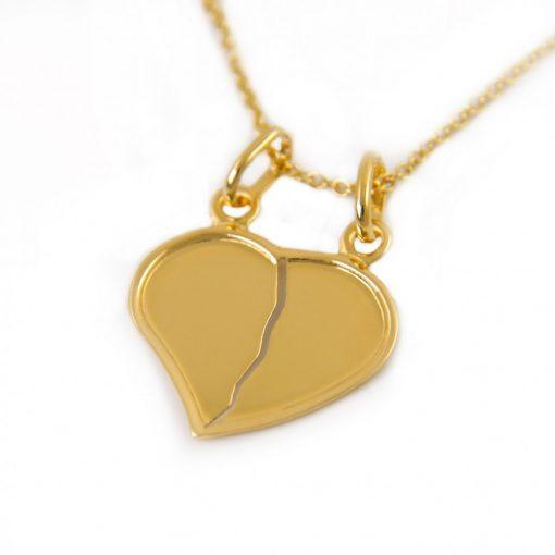 Törhető szív páros medál szerelmeseknek - 14K arany (Au588029)