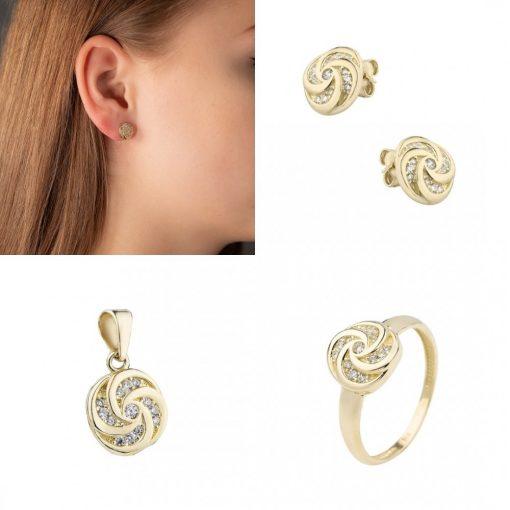 Bécsi trió szett - 9K arany medál, gyűrű és fülbevaló