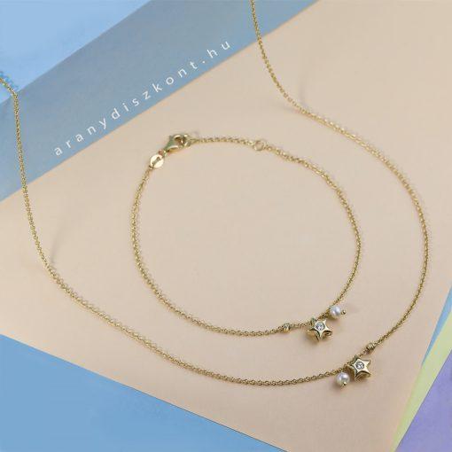 Csillagfény szett - 14K arany nyaklánc és karlánc