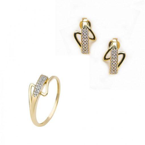 Keringő szett - 9K arany gyűrű és fülbevaló