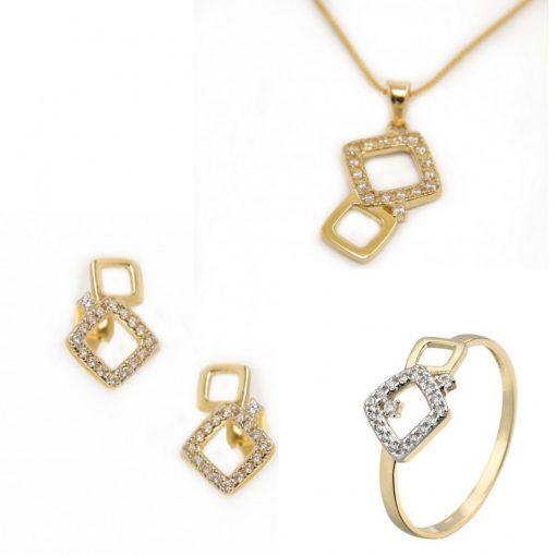 Tangó trió szett - 9K arany gyűrű, medál és fülbevaló