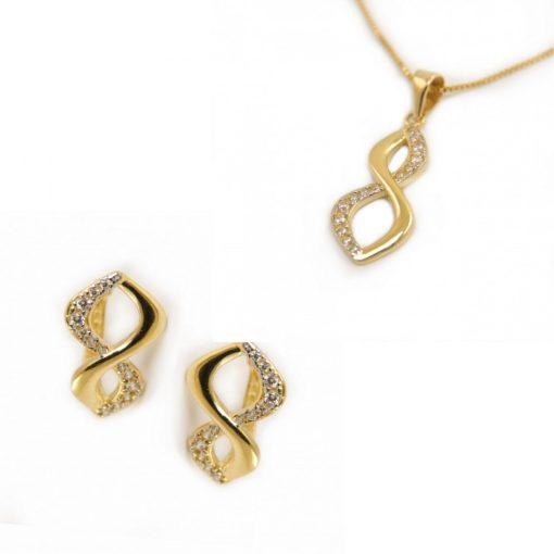 Végtelen duó szett - 9K arany medál és fülbevaló