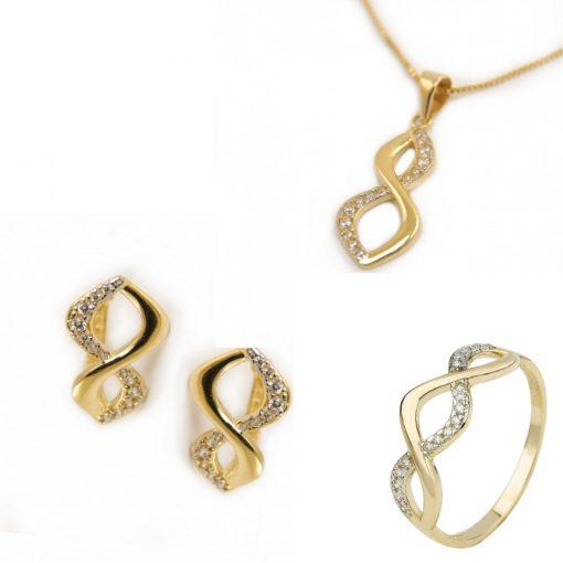 Végtelen trió szett - 9K arany medál, gyűrű és fülbevaló