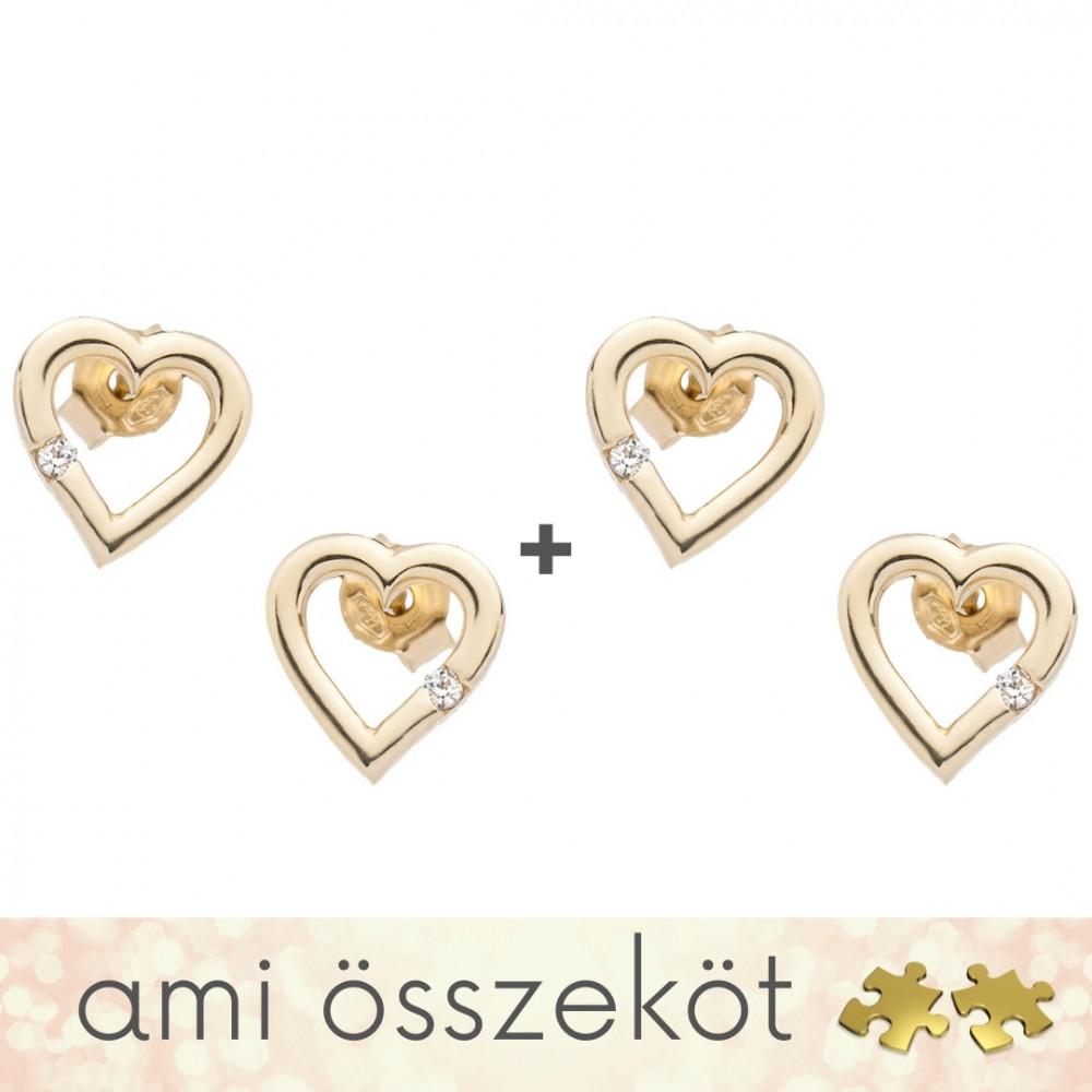 Kicsi szíveim - páros fülbevalók - 14K arany